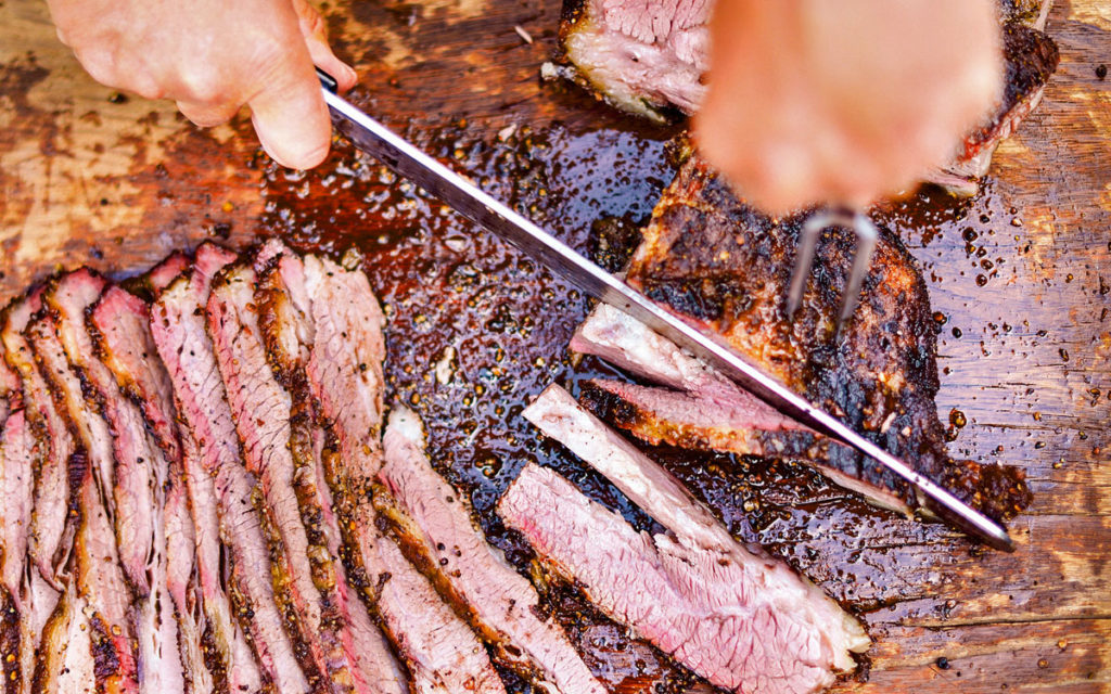 Slice the brisket point pieces against the grain