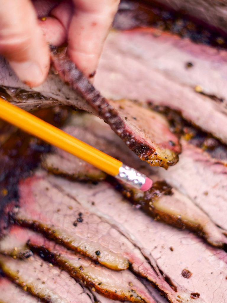 Brisket slice thickness of a pencil