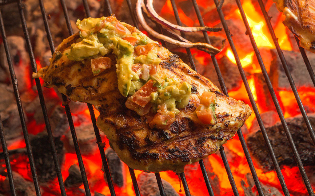 Grilled Cilantro Lime Chicken with Guacamole Salsa