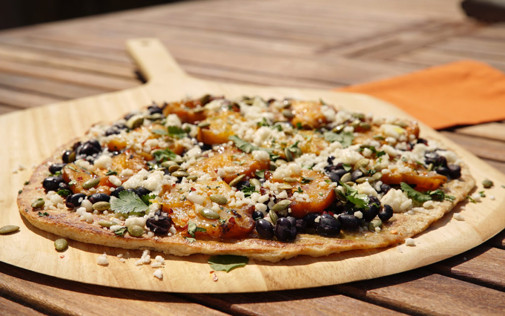 Squash and Black Bean Pizza with Queso Fresco