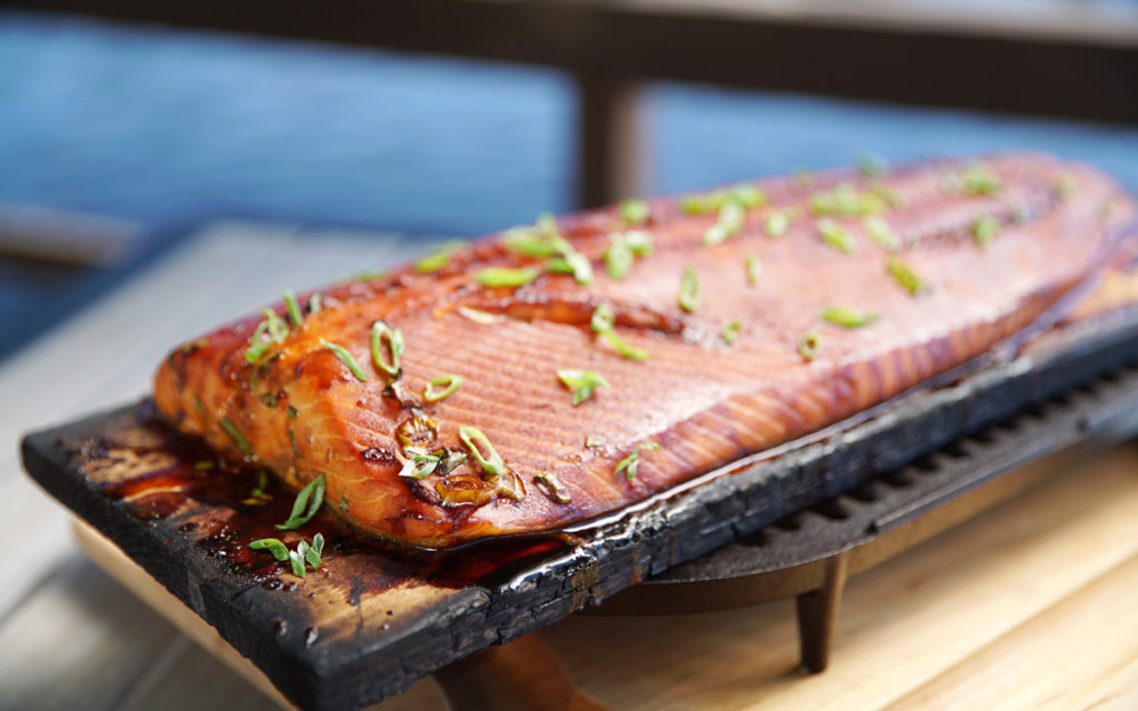 Barbecued Salmon with Brown Sugar Butter Glaze