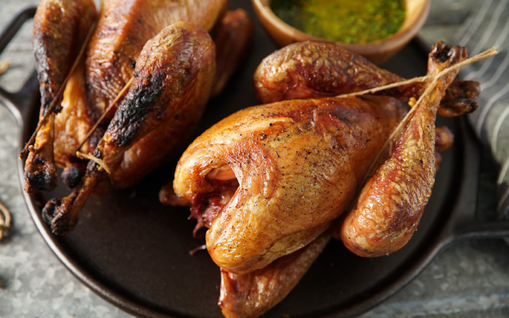 Wood Hearth Chickens with Salsa Verde