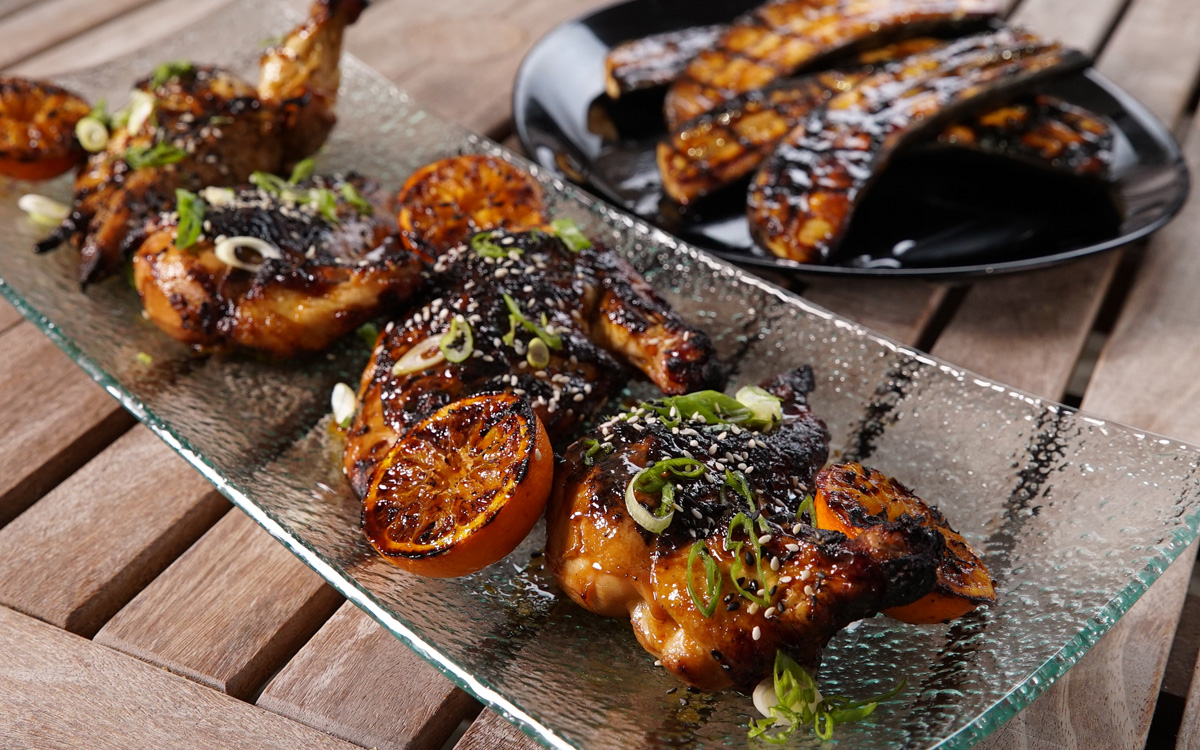 Tangerine Teriyaki Chicken With Grilled Plantains Barbecuebible Com