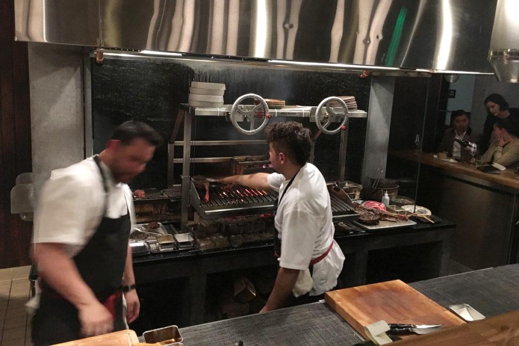Wood-burning grill in restaurant