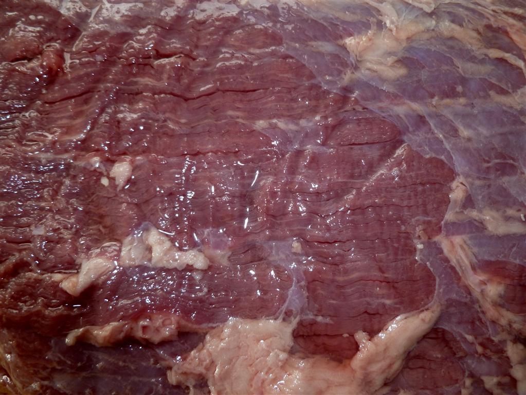 Closeup of brisket grain