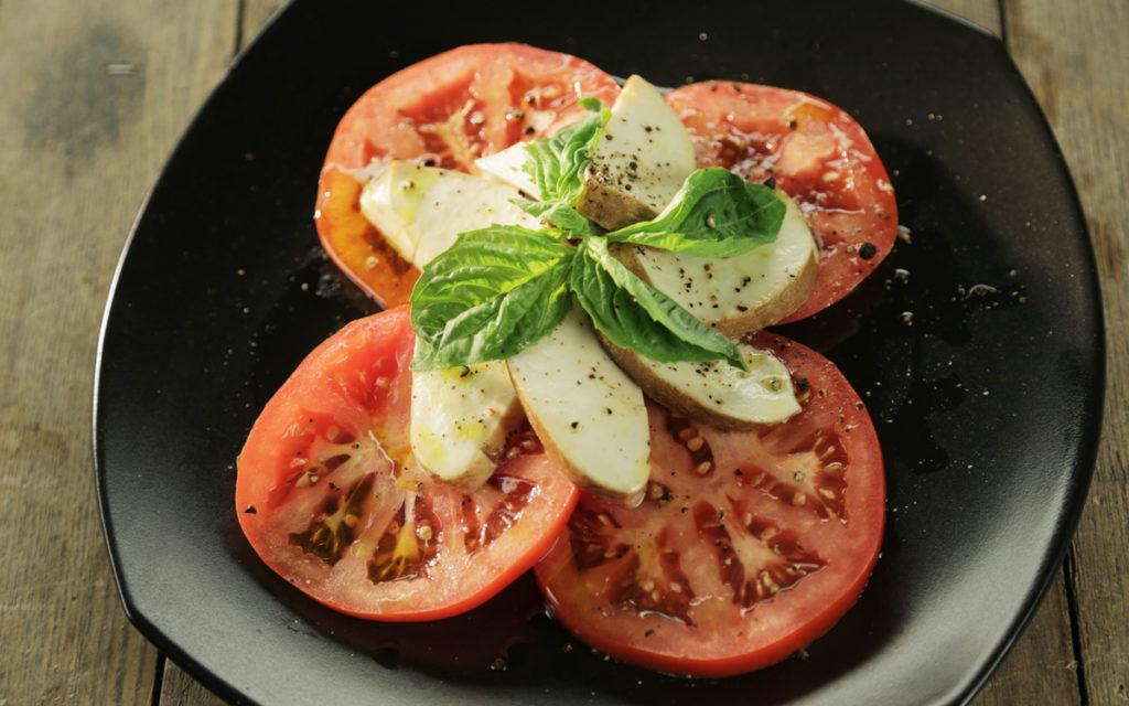 Smoked Caprese Salad with Hay-Smoked Mozzarella