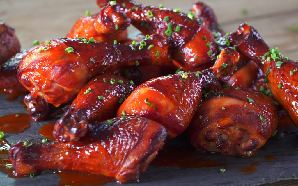 Maple-Sriracha Glazed Chicken Drumsticks