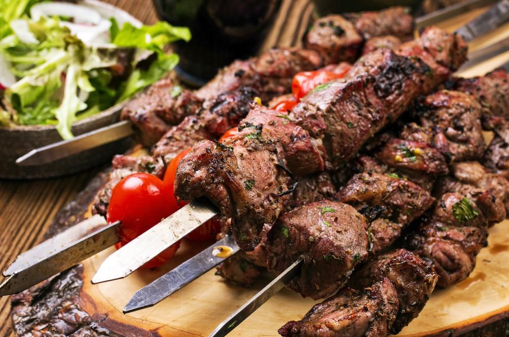 Lamb kebabs on metal skewers