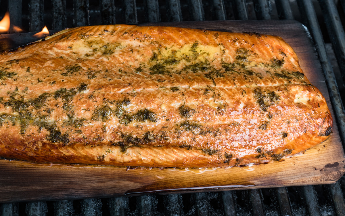 Planked Salmon with Maple Mustard Glaze