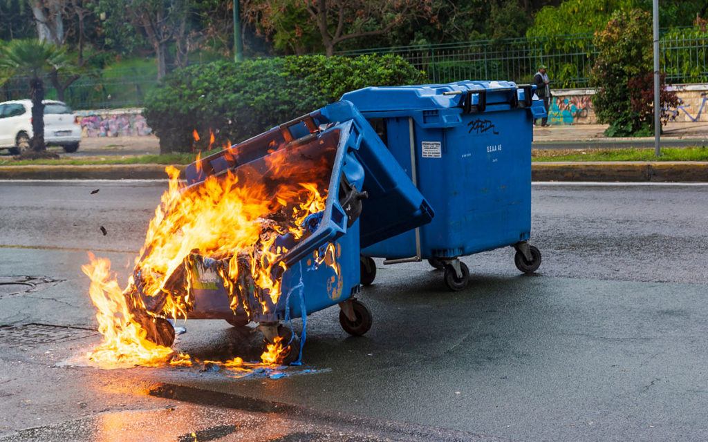 Melted Dumpster on Fire